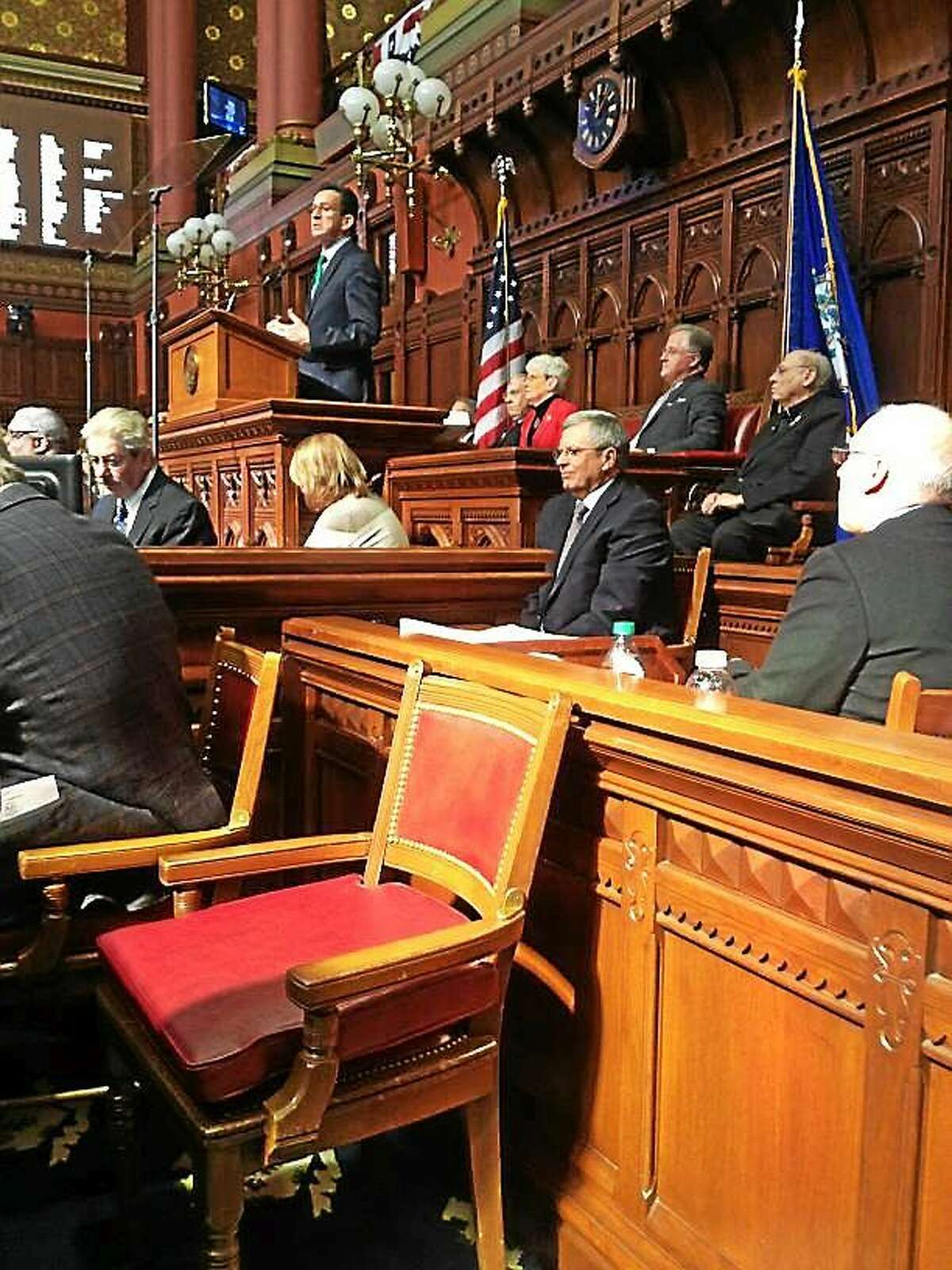 Connecticut Gov. Dannel P. Malloy delivers budget address for 2016-17 before the state House and Senate.