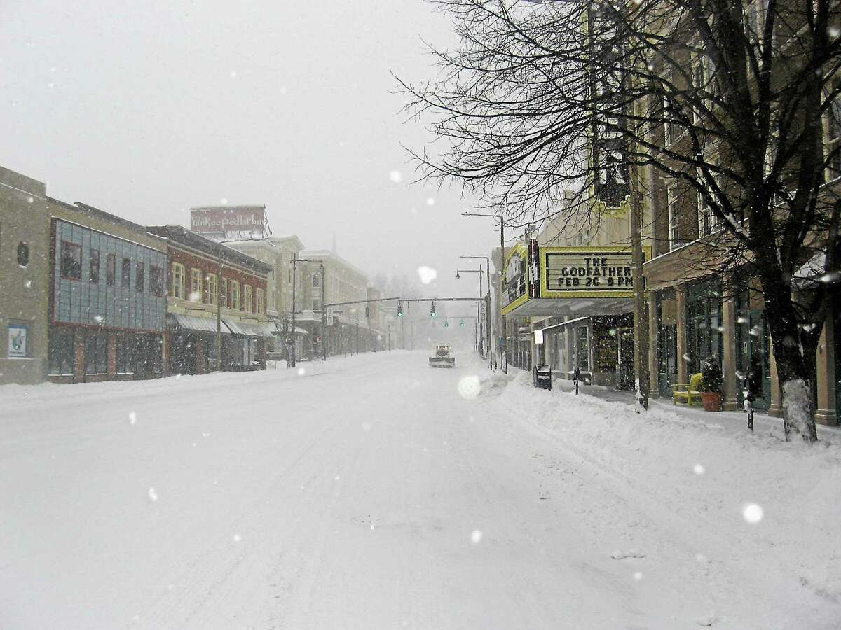 Snow covers Main Street in Torrington during one of the January storms.