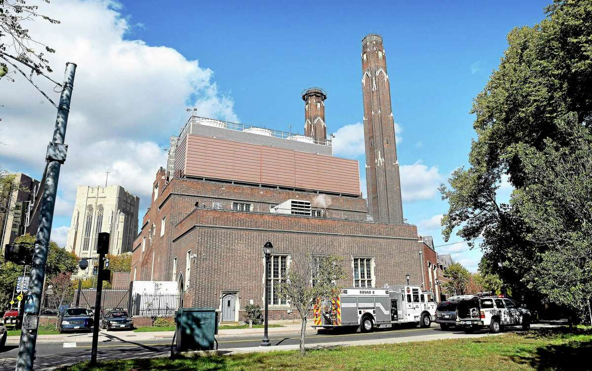 The scene at the Yale Central Power Plant in New Haven where a worker fell forty feet inside a chimney Saturday morning (10/17/2015).