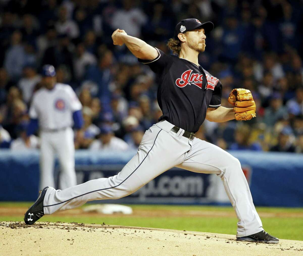 Cleveland Indians starting pitcher Josh Tomlin (43) throws during the first inning of Game 3 of the Major League Baseball World Series against the Chicago Cubs on Oct. 28, 2016 in Chicago.