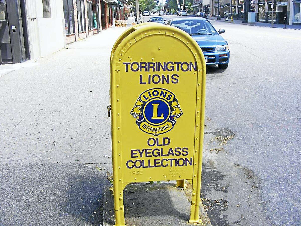 Contributed photoThe Torrington Lions Club's eyeglass collection box has been moved to a new location: on Main Street, on the sidewalk across from City Hall at the corner of Torrington Savings Bank and the Center Congregational Church.