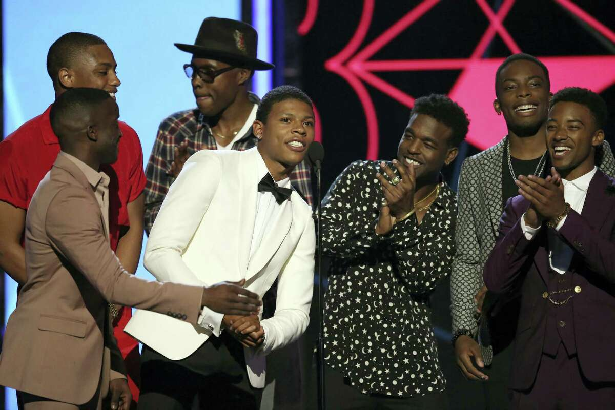 The cast of New Edition present the award for best actress at the BET Awards at the Microsoft Theater on Sunday, June 26, 2016, in Los Angeles.