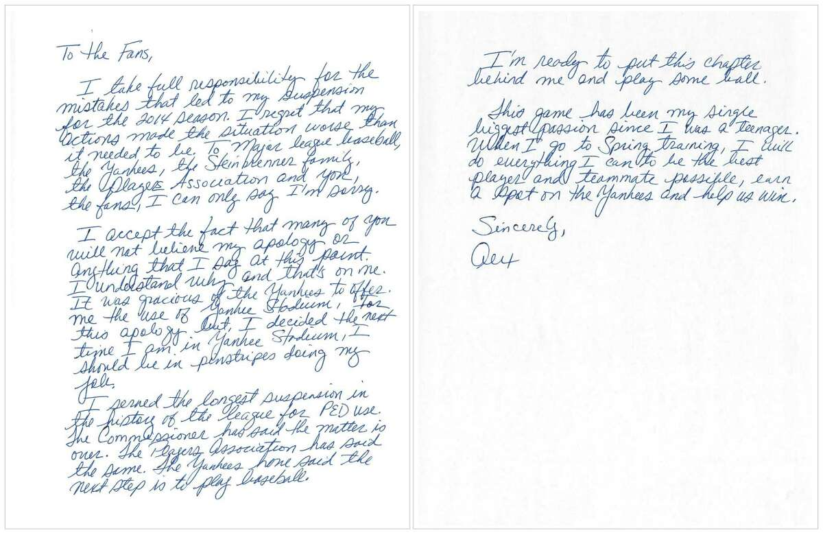"""This image issued by New York Yankees' Alex Rodriguez shows a two-page handwritten apology issued Tuesday, three days before the team opens spring training, addressed """"to the fans."""""""