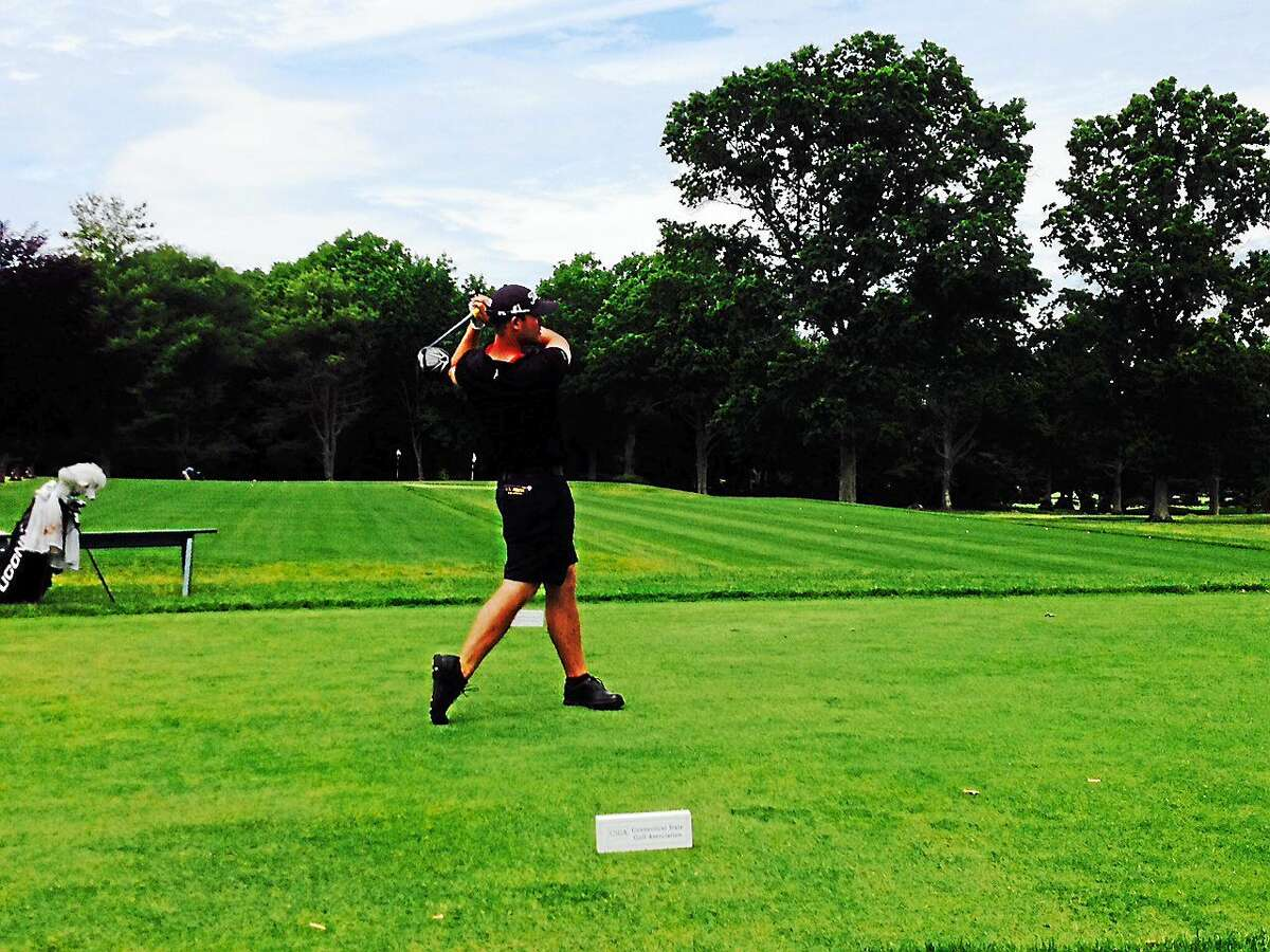 Evan Grenus tees off on the first hole of his semifinal-round match in the Connecticut Amateur Thursday at the Black Hall Club.