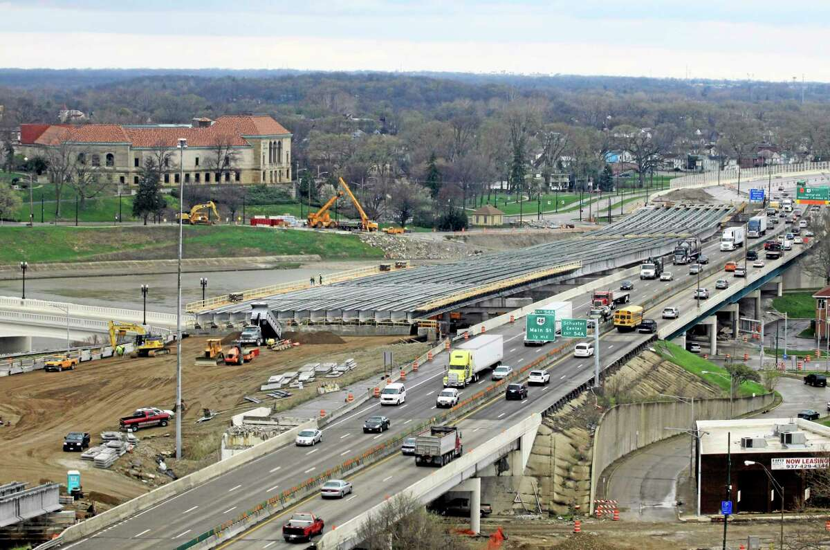 A section of the I-75 Phase II modernization project under way in Dayton, Ohio. On Oct. 29, the federal system that pays for the country's transportation infrastructure will shut down unless Congress acts.
