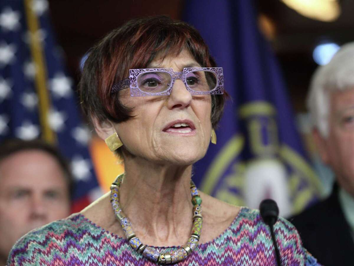 Rep. Rosa DeLauro, D-Conn., gestures during a news conference Tuesday on Capitol Hill in Washington.