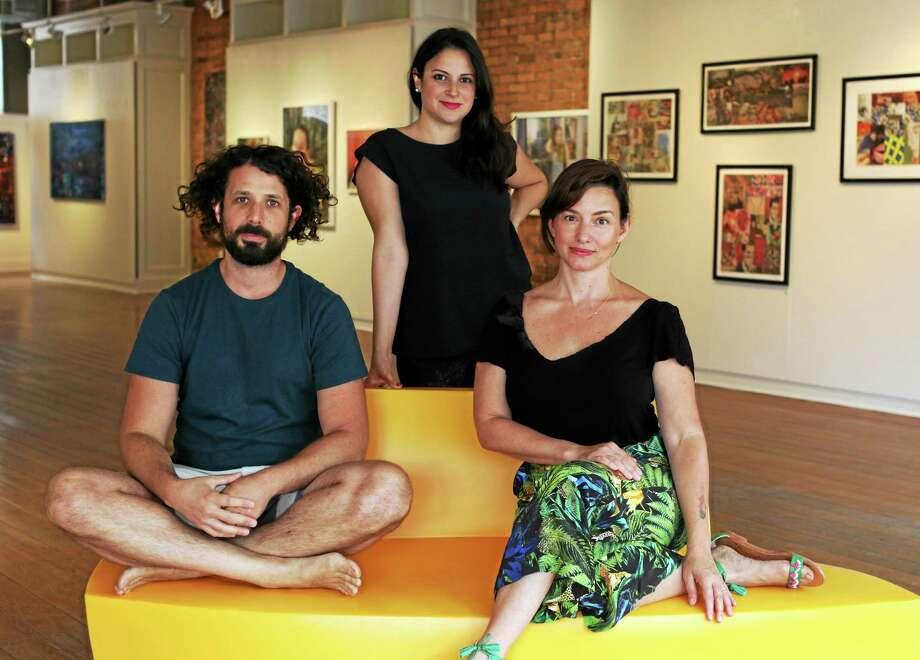 John Fitts - The Register CitizenGallery Founders Evan Abramson, Carmen Lopez Abramson and Pilar DeMann. Photo: Journal Register Co.