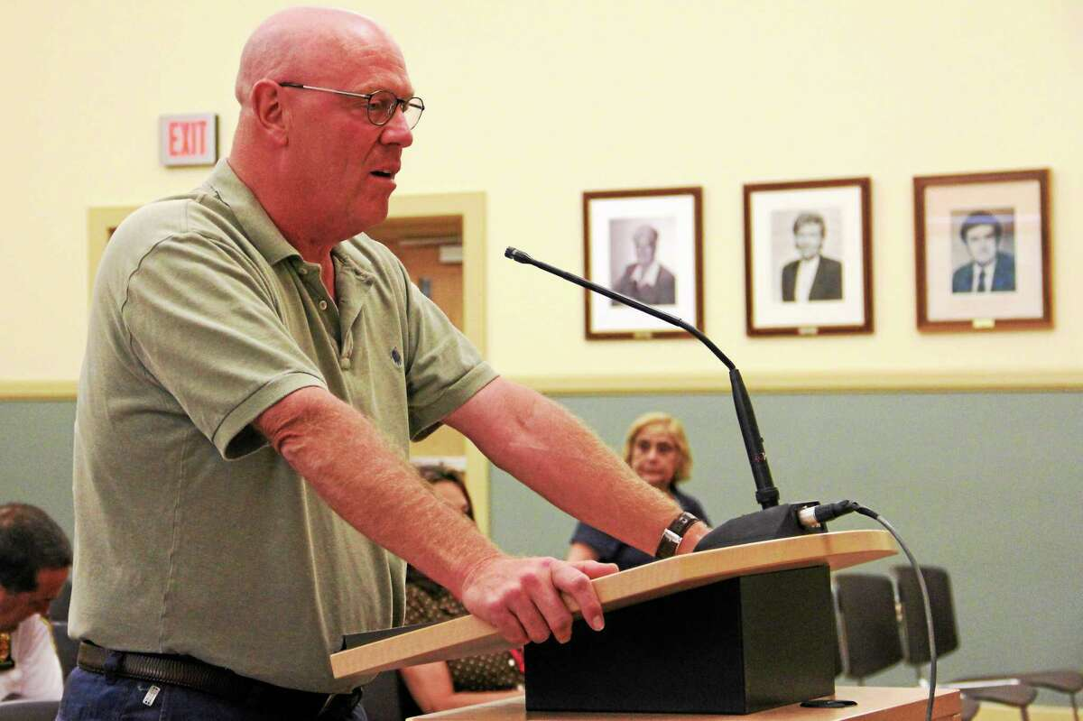 Robert Crovo, the city's tax collector, address the Board of Finance in this June 2014 file photo.