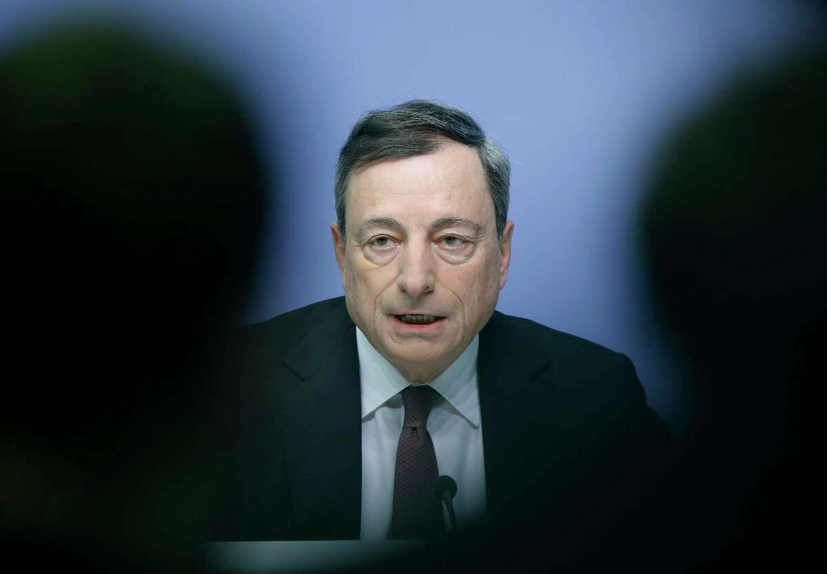 European Central Bank President Mario Draghi speaks during a news conference in Frankfurt, Germany, following a meeting of the ECB governing council.