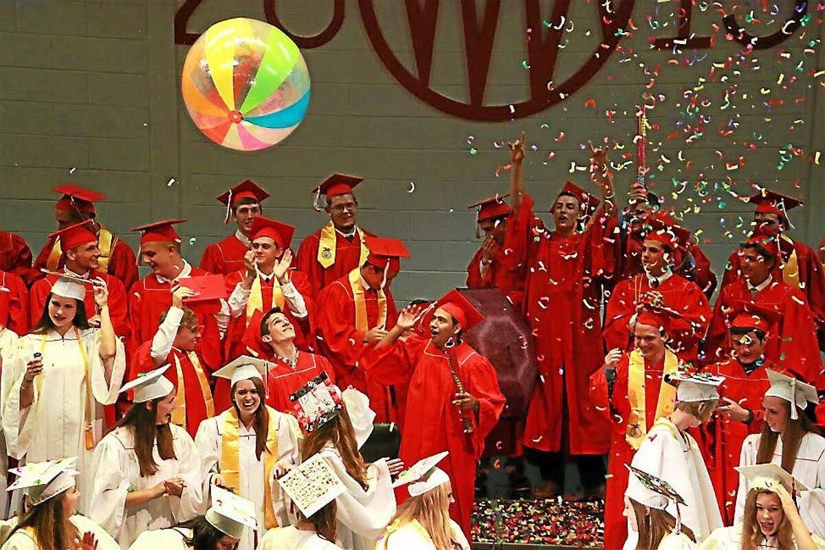 Wamogo Regional High School graduates at commencement exercises Thursday in Litchfield.