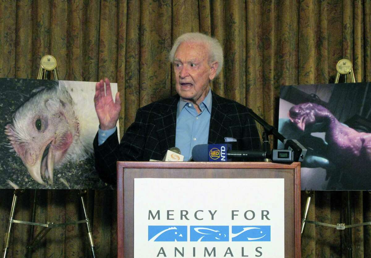 Bob Barker, former host of ìThe Price is Rightî and a longtime animal rights advocate, speaks during a news conference in downtown Los Angeles on Wednesday, June 17, 2015. Barker criticized poultry producer Foster Farms after an animal-rights group released video showing chickens being slammed upside-down into shackles, punched and having their feathers pulled out while still alive. California-based Foster Farms says it has suspended five employees. (AP Photo/Amanda Lee Myers)