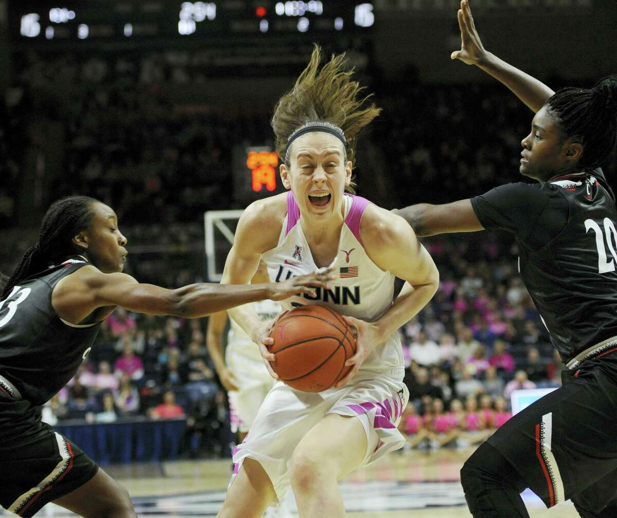 UConn's Breanna Stewart drives to the basket against Cincinnati on Wednesday.