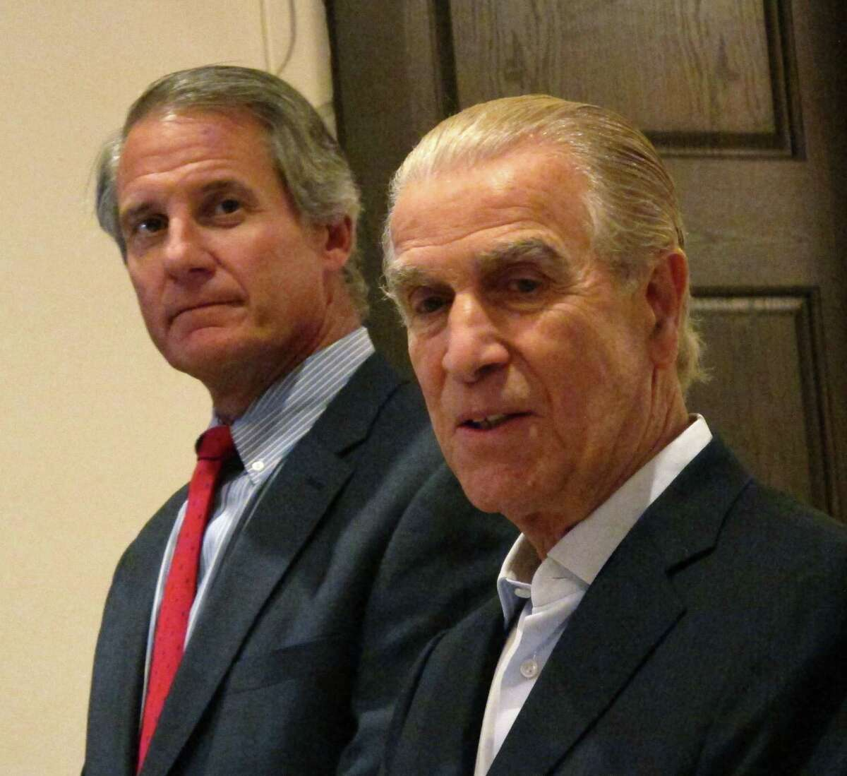 This Aug. 26, 2015, photo shows Mitchell Etess, right, CEO of Mohegan Gaming Advisors, and Morris Bailey, left, owner of Resorts Casino Hotel in Atlantic City, N.J. On Wednesday Oct. 14, 2015, the New Jersey Casino Control Commission approved a new management agreement in which the Mohegans can invest in Resorts' Internet gambling operations, but not own any more than 10 percent of the casino itself.
