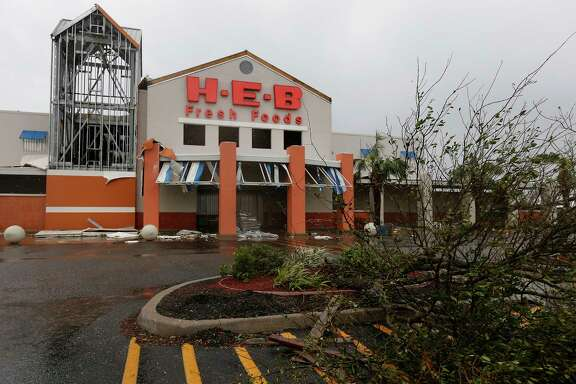 The H-E-B located in Rockport shows damage in the aftermath of Hurricane Harvey on Saturday, Aug. 26, 2017.