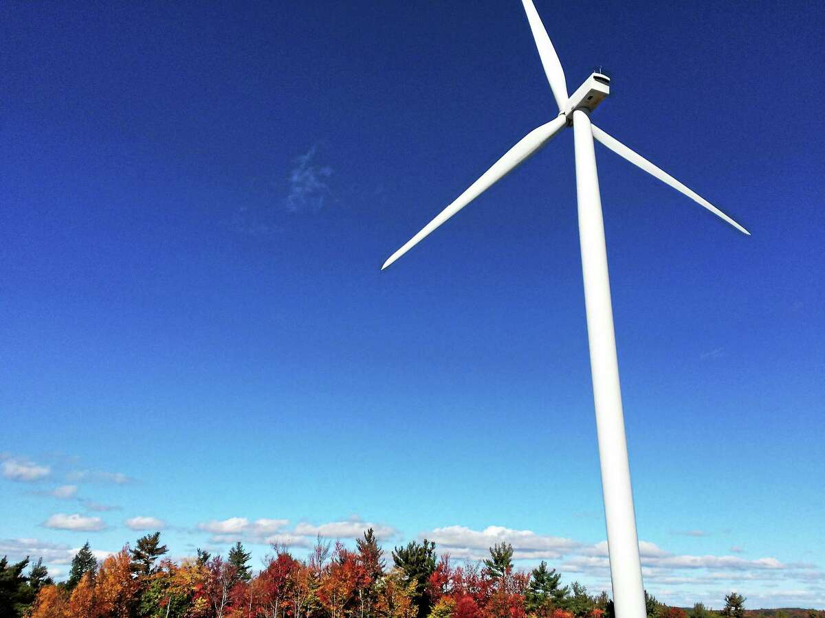 One of the wind turbines off of Flagg Hill Road in Colebrook.