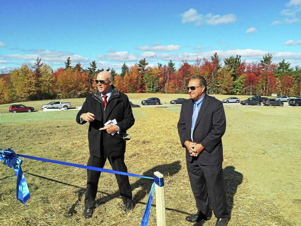 BNE Energy executives Greg Zupkus and Paul Corey speak at Thursday's launch of Connecticut's first commercial wind farm in Colebrook.