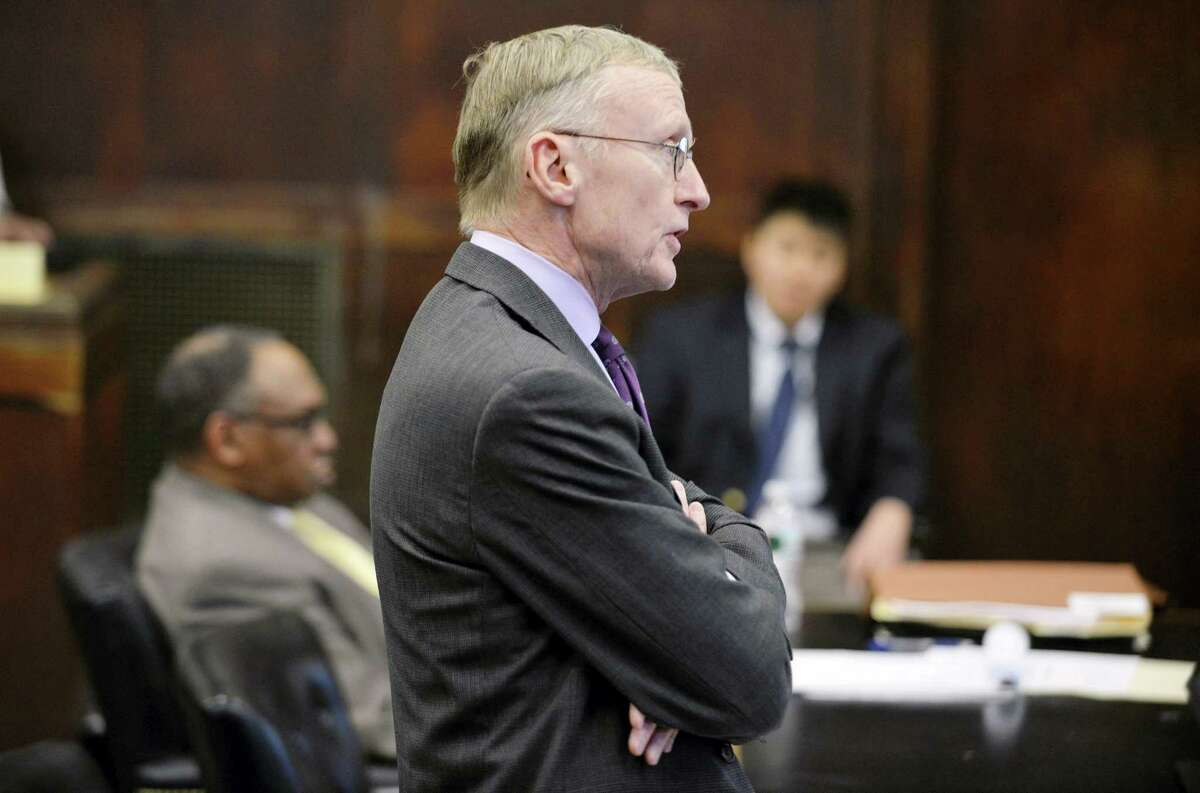 Charlie Rankin, attorney for Aaron Hernandez, speaks during a hearing in Suffolk Superior Court in Boston, Mass., Tuesday, Feb. 16, 2016. Lawyers for former New England Patriots player Hernandez have asked a judge to allow jurors at his upcoming trial to see a car prosecutors say Hernandez was in when he allegedly killed two men in 2012.