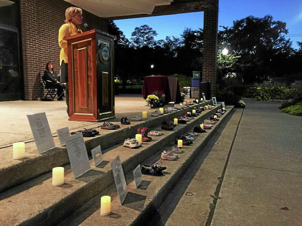 Torrington Mayor Elinor Carbone speaks at Thursday's vigil.