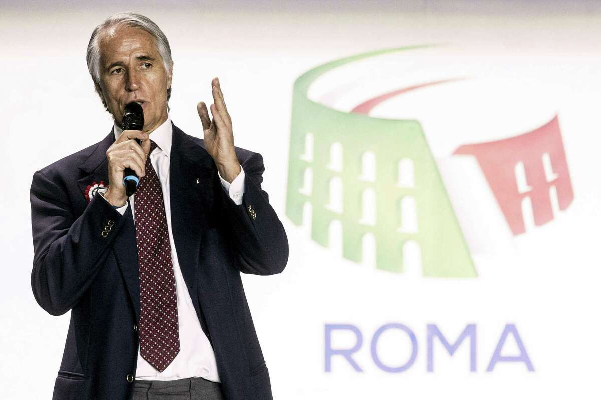 """Giovanni Malago, president of the Italian Olympic Committee, speaks during the presentation of Rome's bid to stage the 2024 Olympics, in Rome, Wednesday, Feb 17, 2016, the same day the initial bid dossier was submitted to the International Olympic Committee. At an extravagant presentation Wednesday produced by the same company handling the ceremonies for the upcoming Olympics in Rio de Janeiro, Rome organizers revealed their bid theme — """"The Italian art of the welcome."""""""