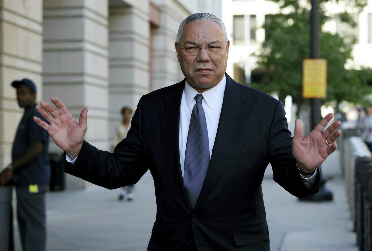 FILE - In this Oct. 10, 2008 file photo, former Secretary of State Colin Powell is seen in Washington. Powell says he sent Hillary Clinton a memo touting his use of a personal email account after she took over as the nation'Äôs top diplomat in 2009. (AP Photo/Susan Walsh, File)