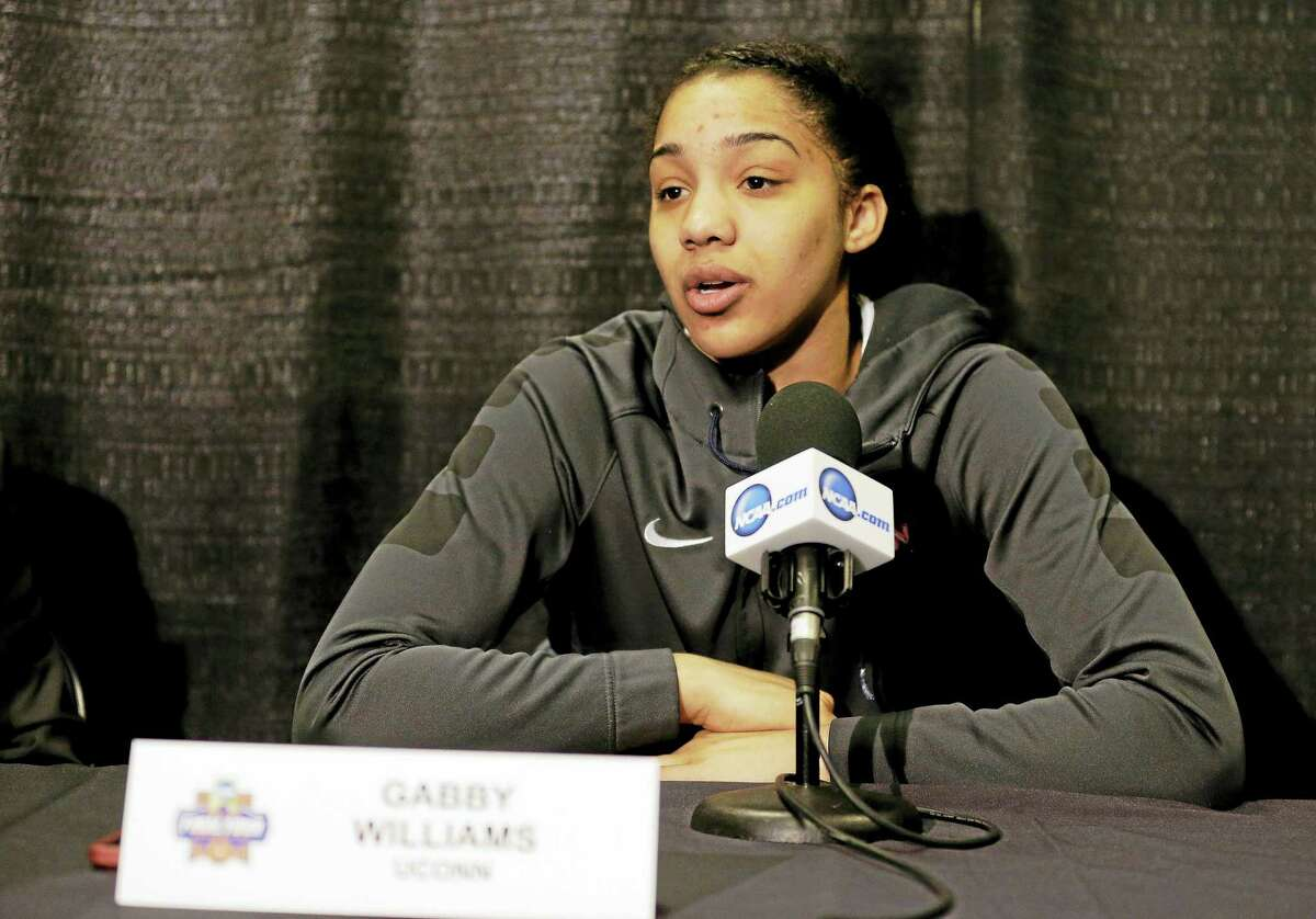 UConn's Gabby Williams responds to a question during a news conference at last season's Final Four.
