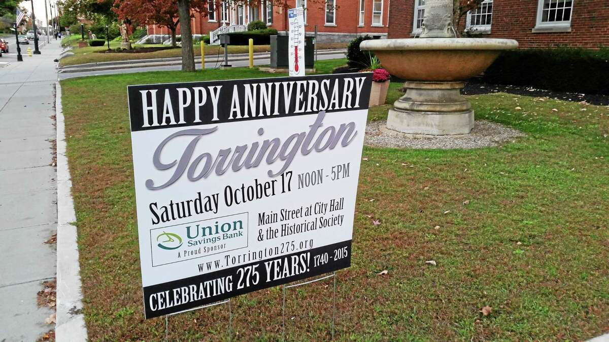 The Torrington 275th anniversary celebration is scheduled to be held Saturday, Oct. 17.