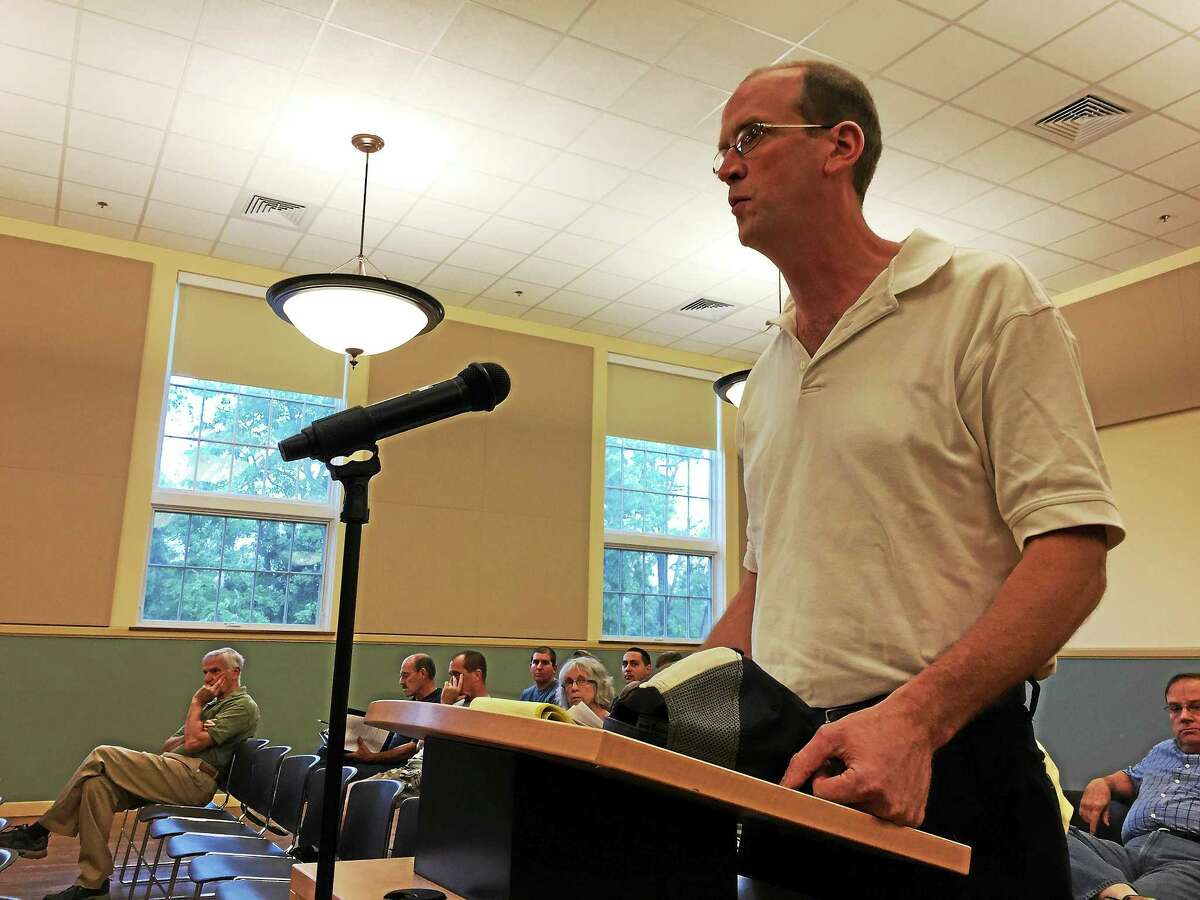 Jason Noad of the Burrville Volunteer Fire Department addresses the Torrington Board of Public Safety at a meeting in July.