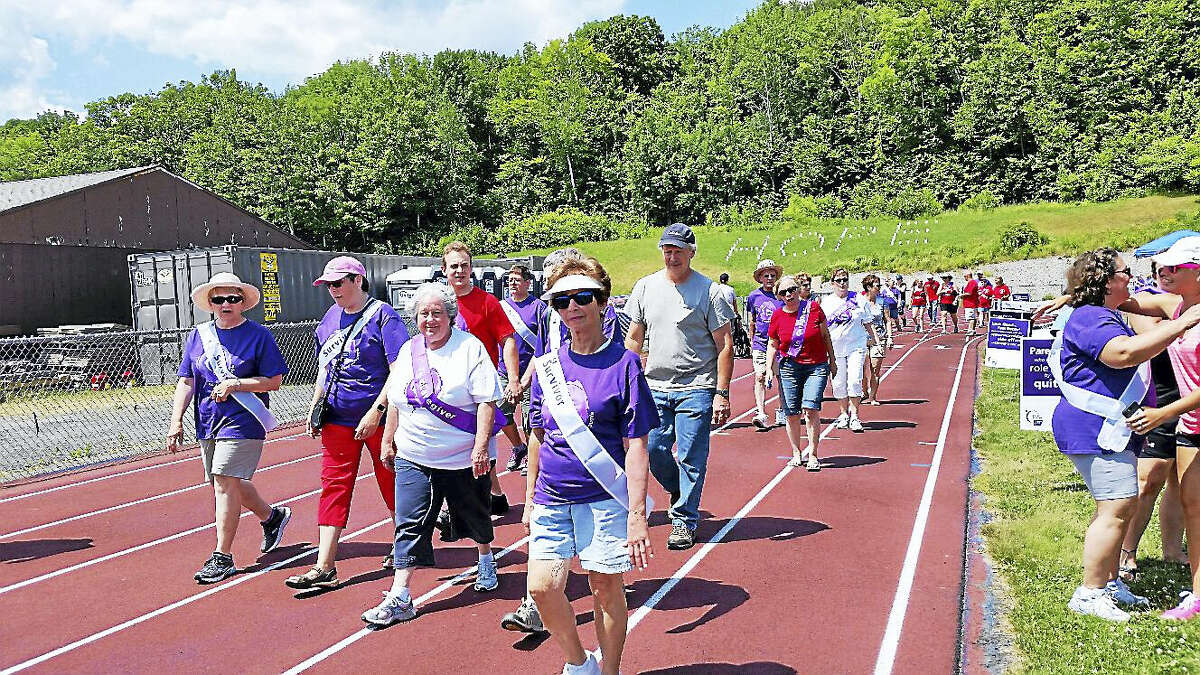 About 200 people participated by running laps during the 13th annual Relay for Life of Northwest Hills at Northwestern Regional High School's running track at 100 Battistoni Drive in Winsted on Saturday afternoon.