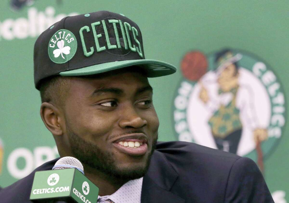 Jaylen Brown smiles during an introductory news conference Friday.