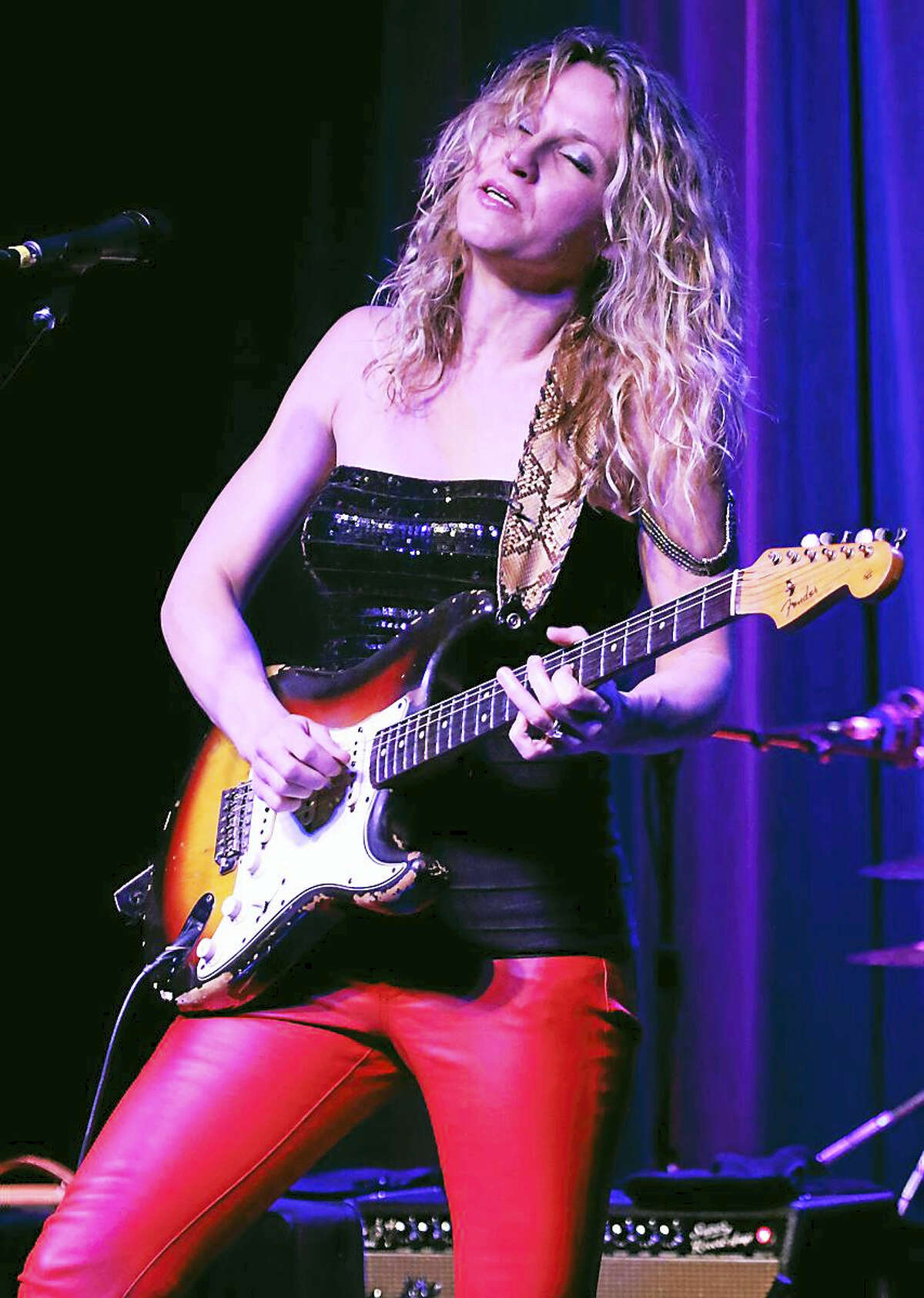 """Photo by John AtashianBlues guitarist Ana Popovic is shown performing during her appearance at Stage One in Fairfield on Feb. 12. The Serbian guitarist played songs from her latest album """"Blue Room"""" and announce she will be releasing a three cd package of all new material in May. To learn more about Ana you can visit www.anapopovic.com"""