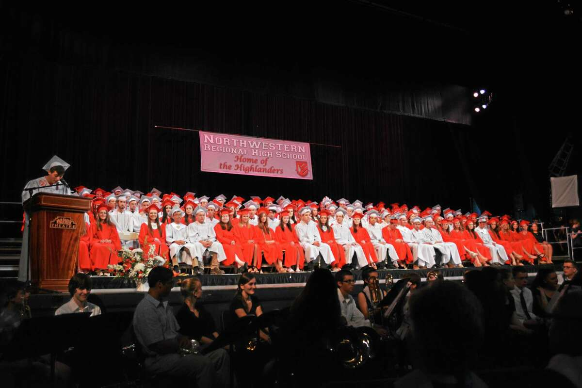 The Northwestern Regional High School class of 2015 at their graduation ceremony at the Warner Theater in Torrington Tuesday.