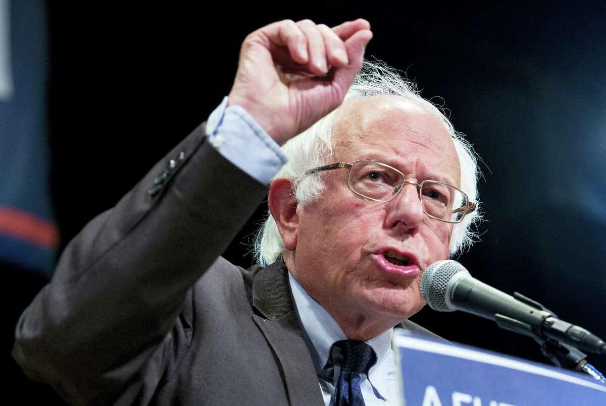 Democratic presidential candidate Sen. Bernie Sanders, I-Vt., addresses supporters in New York Thursday, June 23, 2016.
