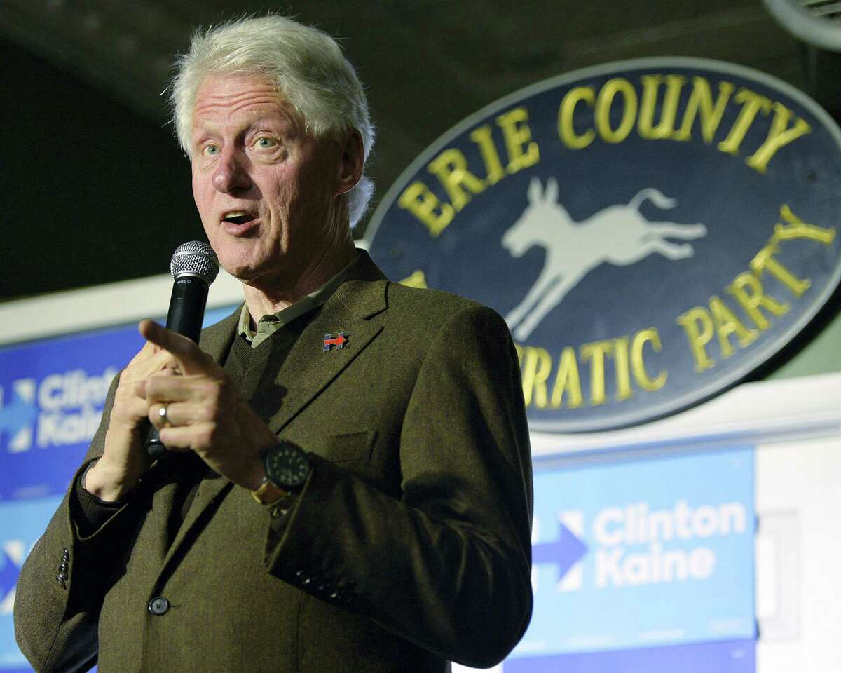 Former President Bill Clinton speaks to supporters at the Erie County Democratic Party Headquarters, Thursday, Oct. 27, 2016, in Erie, Pa.