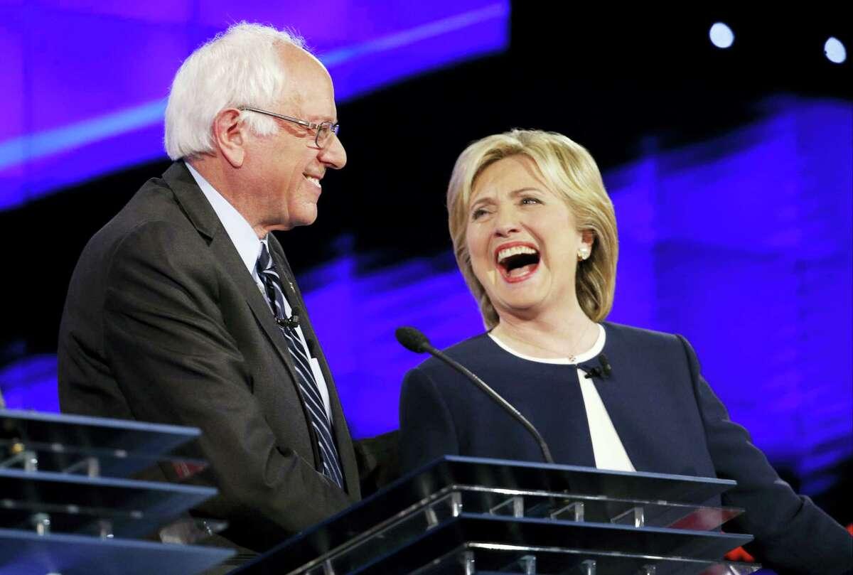 Sen. Bernie Sanders of Vermont, left, and Hillary Rodham Clinton