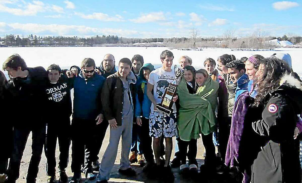 Forman Named Overall School that Raised the Most Money for the Penguin Plunge LITCHFIELD, CONN., Jan. 30, 2015ó On Sunday, 22 students and 3 faculty members jumped into the frigid waters at Winding Trails in Farmington, CT for the Penguin Plunge. The annual event raises money for the Special Olympics. This year, the Forman community raised $5,000 and was awarded the Cool School Challenge trophy as the overall school that raised the most money. Formanís top fundraiser was Math Department faculty member, Ms. Alli Morrow, who raised $1,085. The event had a total of 197 plungers and raised $42,970. All proceeds support the 14,000 Special Olympics athletes who participate in Special Olympics programs and competitions throughout the year.