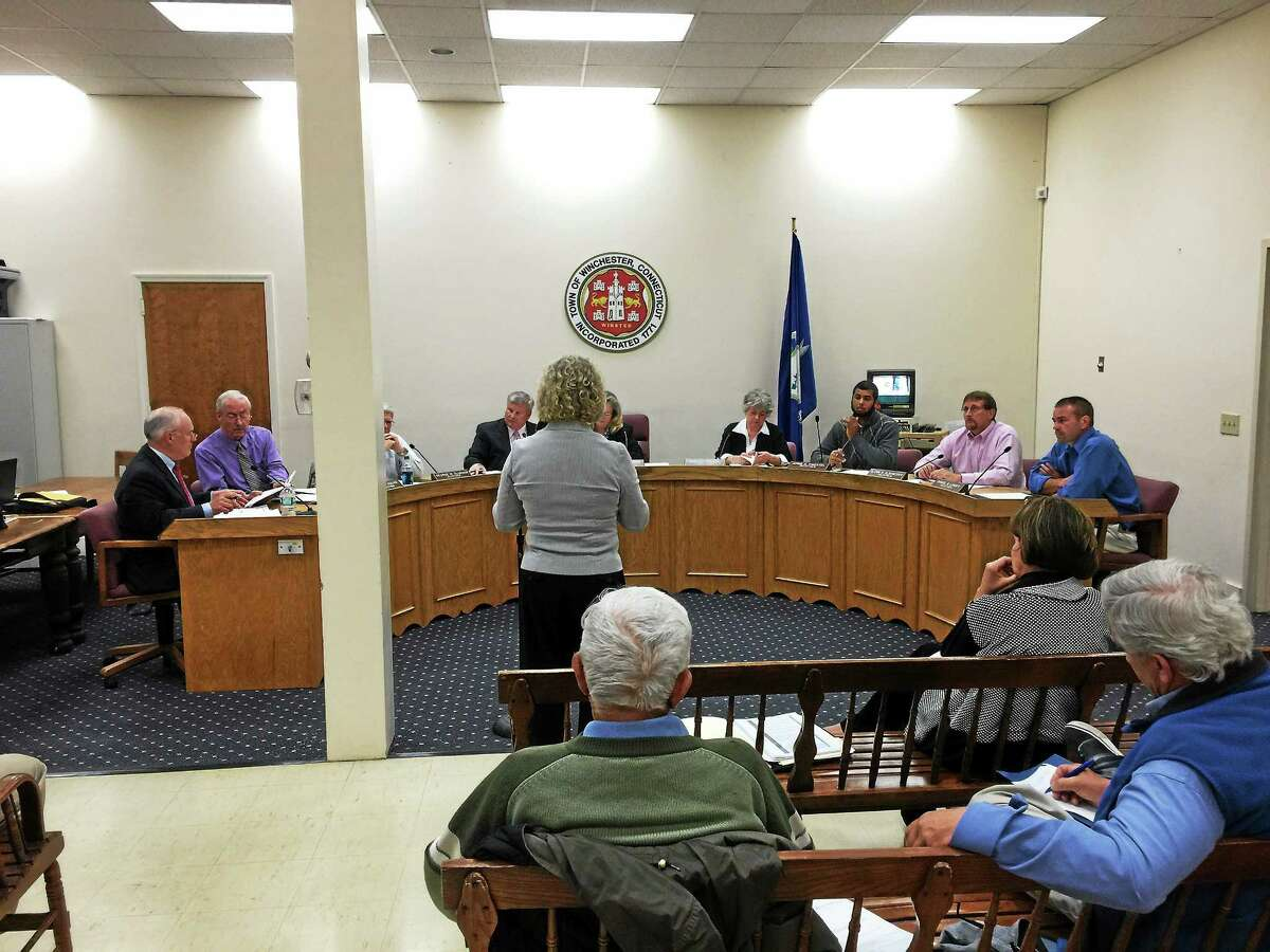 Nancy O'Dea-Wyrick, interim business manager for the Winchester school district, addresses the Board of Selectmen Monday evening.