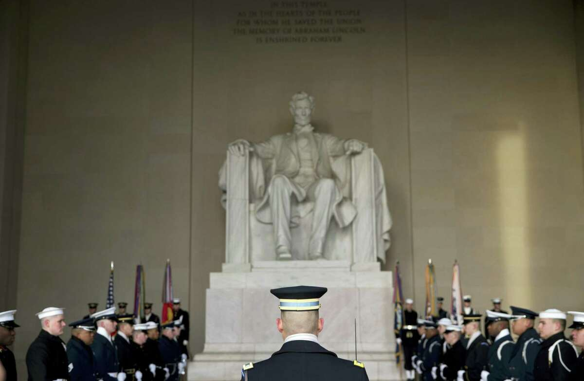 ASSOCIATED PRESS An honor cordon is in place during a Presidential Full Honor Wreath-Laying Ceremony in celebration of the 207th birthday of President Abraham Lincoln, Feb. 12, at the Lincoln Memorial in Washington.