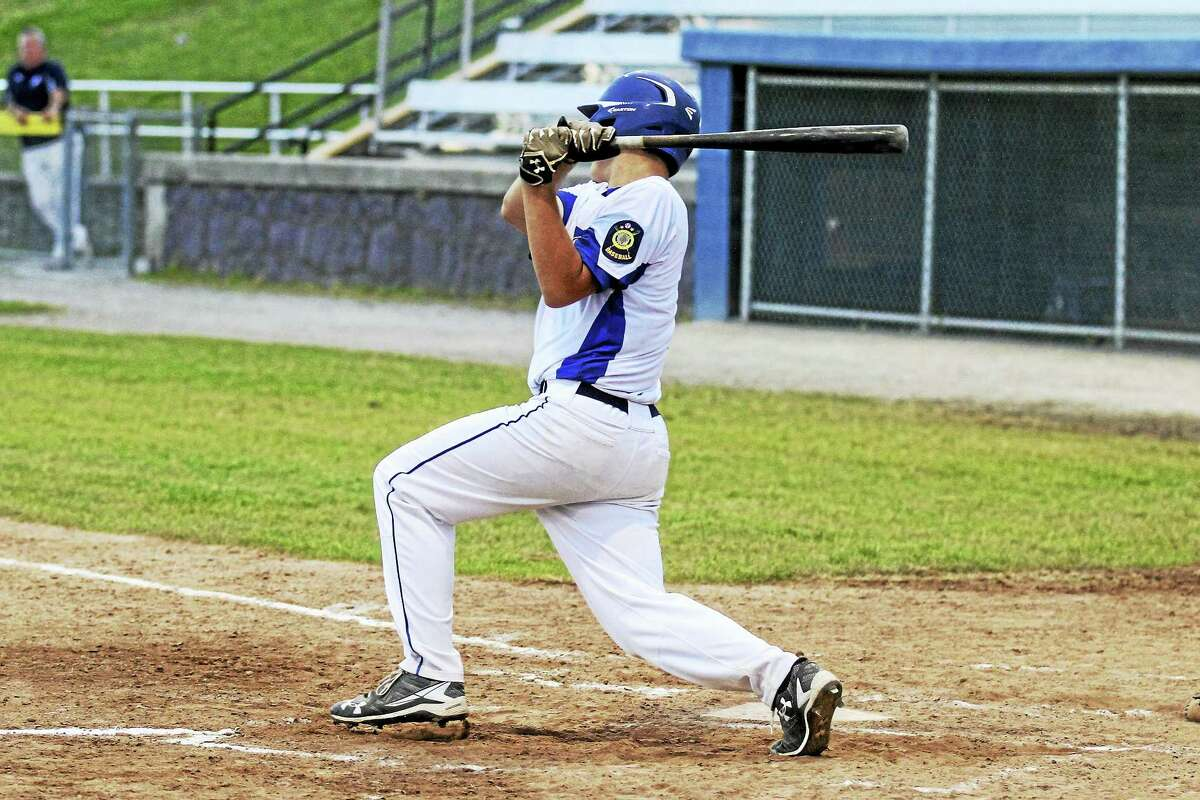 Avon's American Legion Baseball win over Torrington's P38s Thursday evening was all about big bats on both teams, including this Clay Langer triple.