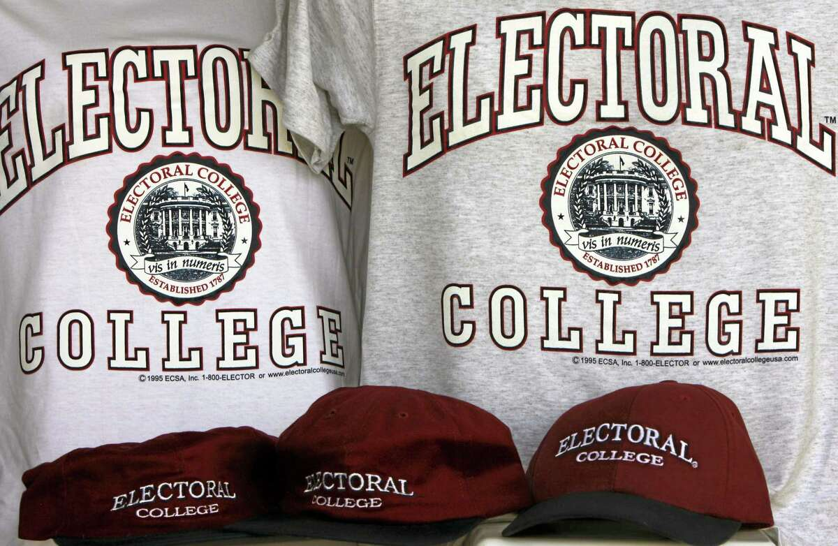 """Sportswear bearing the name of the nonexistent """"Electoral College."""" Each state's Electoral College votes are based on the size of its congressional delegation, not its population. Because of that, a presidential vote in Wyoming mathematically counts more than three times as much as a vote in Ohio, at least in terms of choosing electors."""