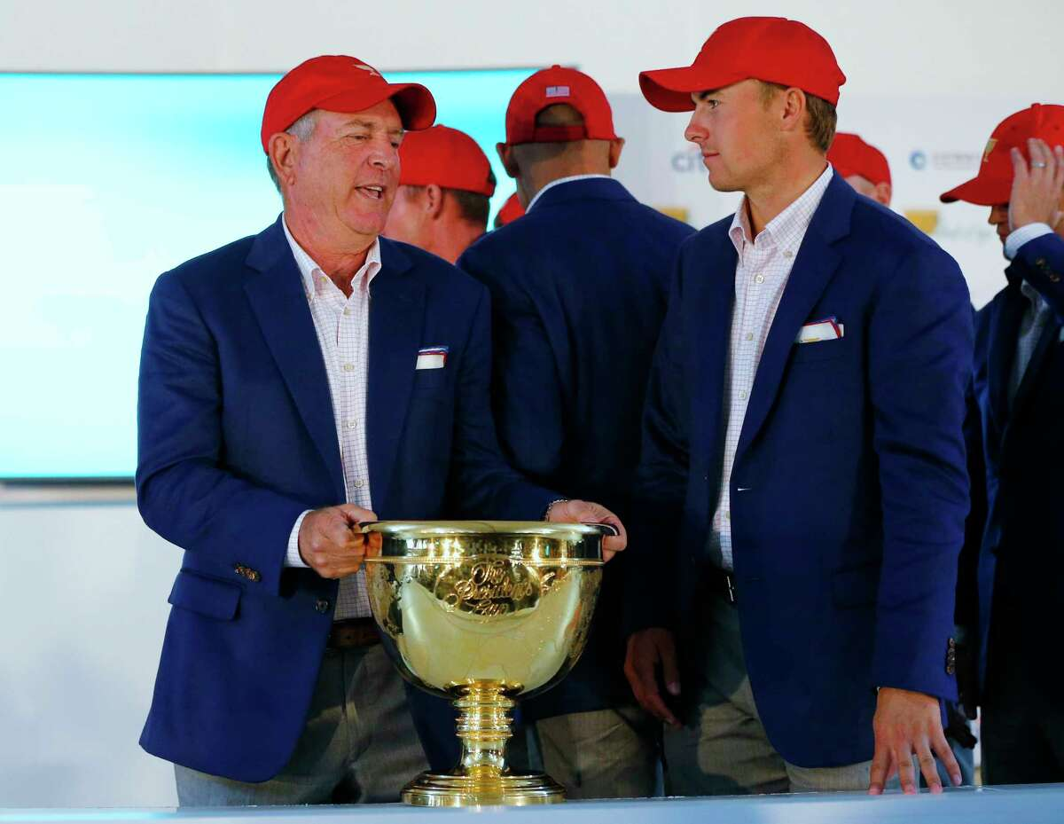 U.S. team captain Jay Haas, left, and Jordan Spieth talk at a press conference after they defeated the International team to retain the Presidents Cup.