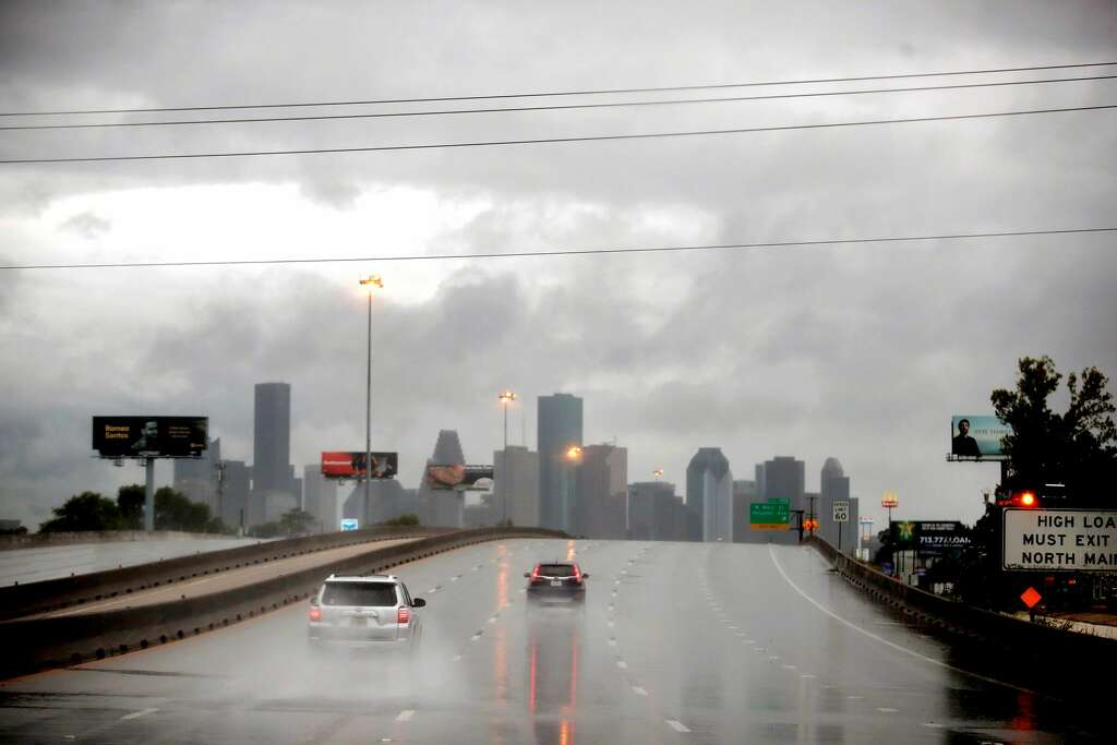 HOUSTON, TX - AUGUST 26: Rain from Hurricane Harvey batters the downtown area on
