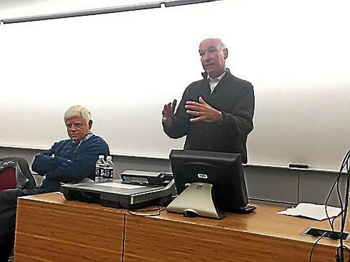 U.S. Reps. John Larson and Joe Courtney. (Sarah Paduano - CT News Junkie)