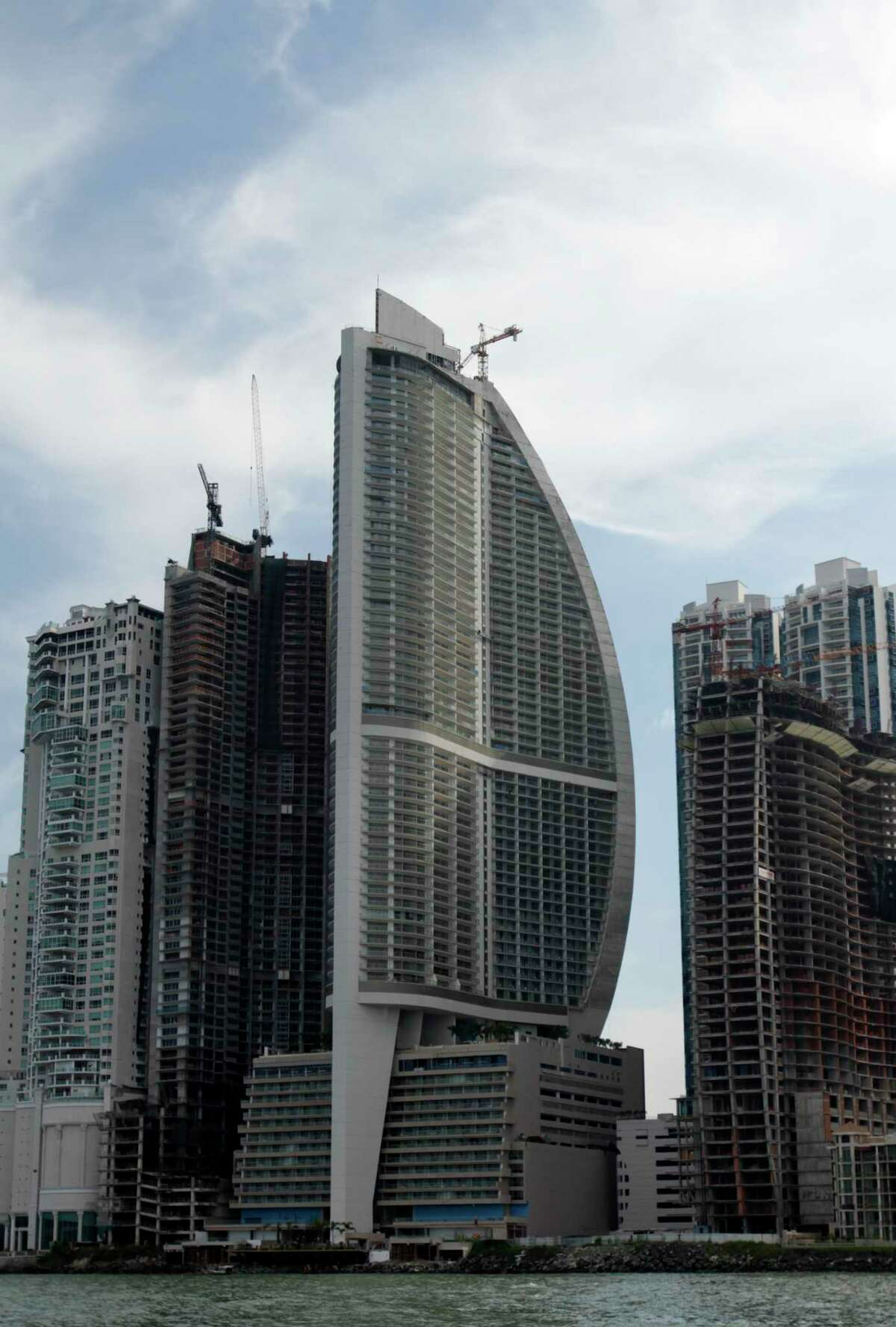 This July 4, 2011 photo shows the Trump Ocean Club International Hotel and Tower, third building from left, in Panama City, Panama.