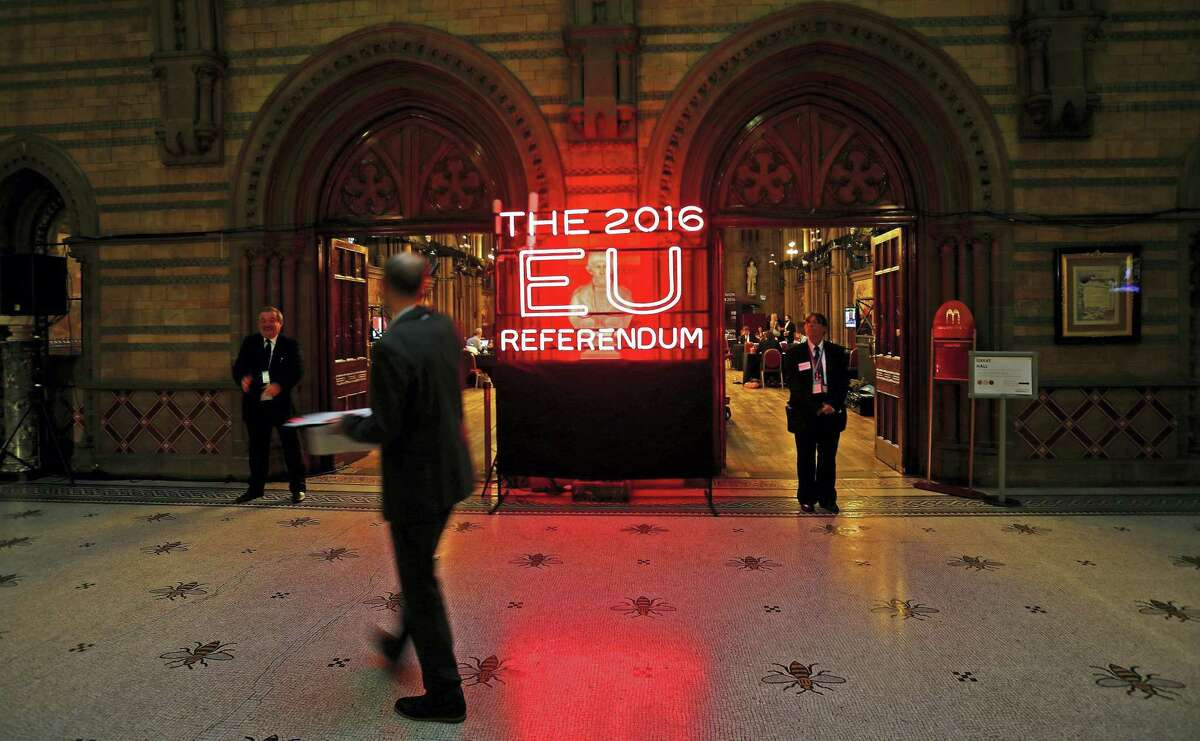 A general view of the main entrance into Manchester Town Hall, the setting for the national referendum count following voting on the UK membership of the European Union, before the counting of votes commences in Manchester, England.