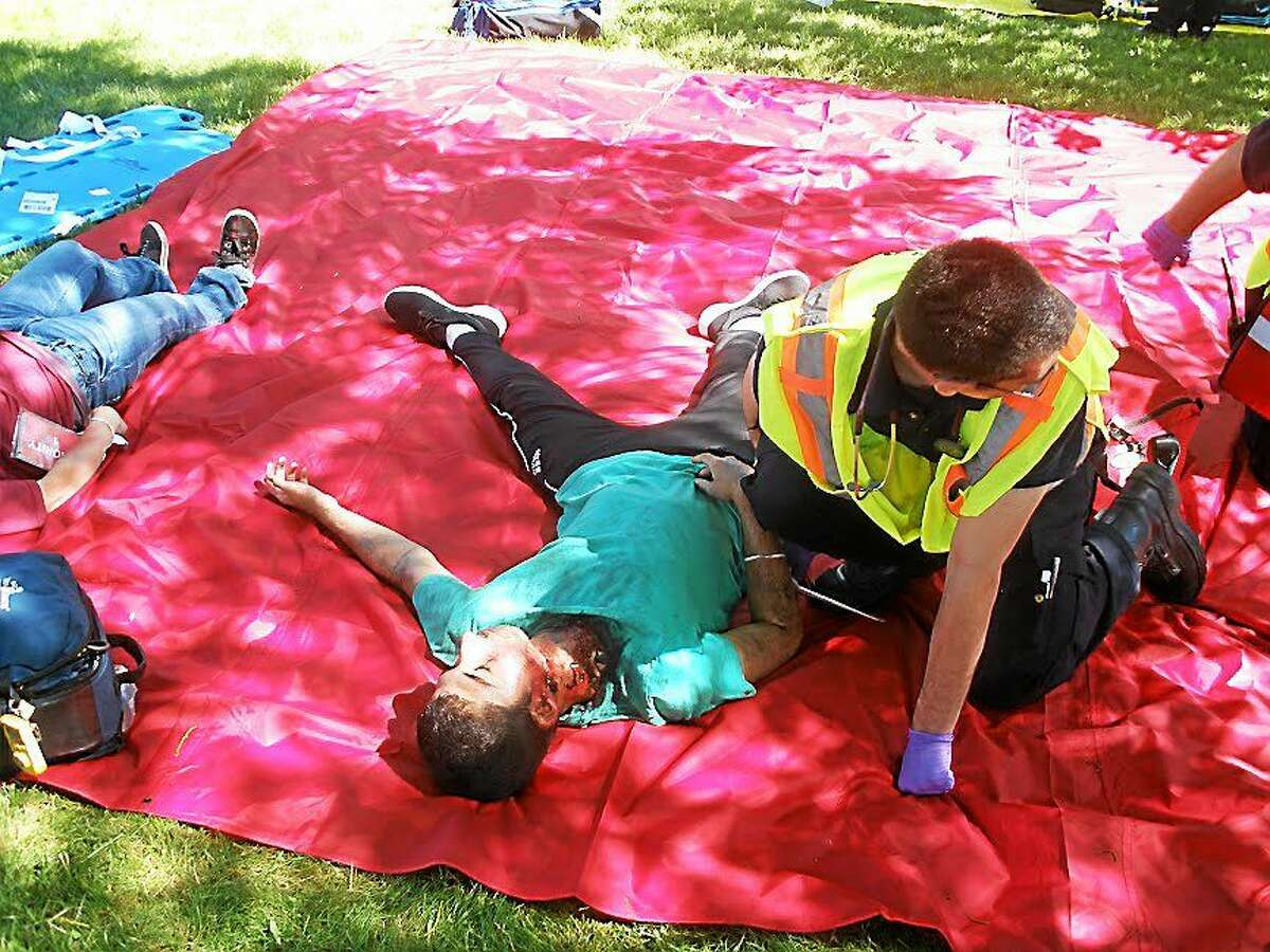 The Connecticut Division of Emergency Management and Homeland Security Region 5 held a disaster triage training drill for area hospitals and first responders at East School in Torrington on Saturday.