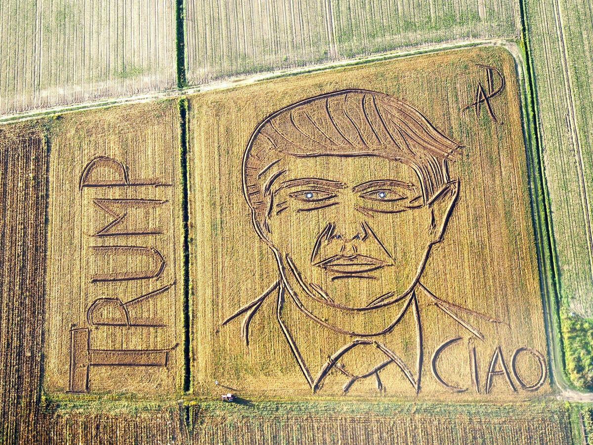 """In this photo taken on Tuesday, Oct. 25, 2016, an aerial view of a giant portrait of U.S. Republican Presidential nominee Donald Trump. Italian land artist Dario Gambarin has used his tractor to transform a field near the Italian city of Verona into a giant portrait of Donald Trump. This artist created a similar portrait for Democratic nominee Hillary Clinton in September. Gambarin created the portrait on a 25,000-square-meter field, writing """"Ciao"""" beneath Trump's left shoulder, signifying recent polls that show Clinton leading the race."""