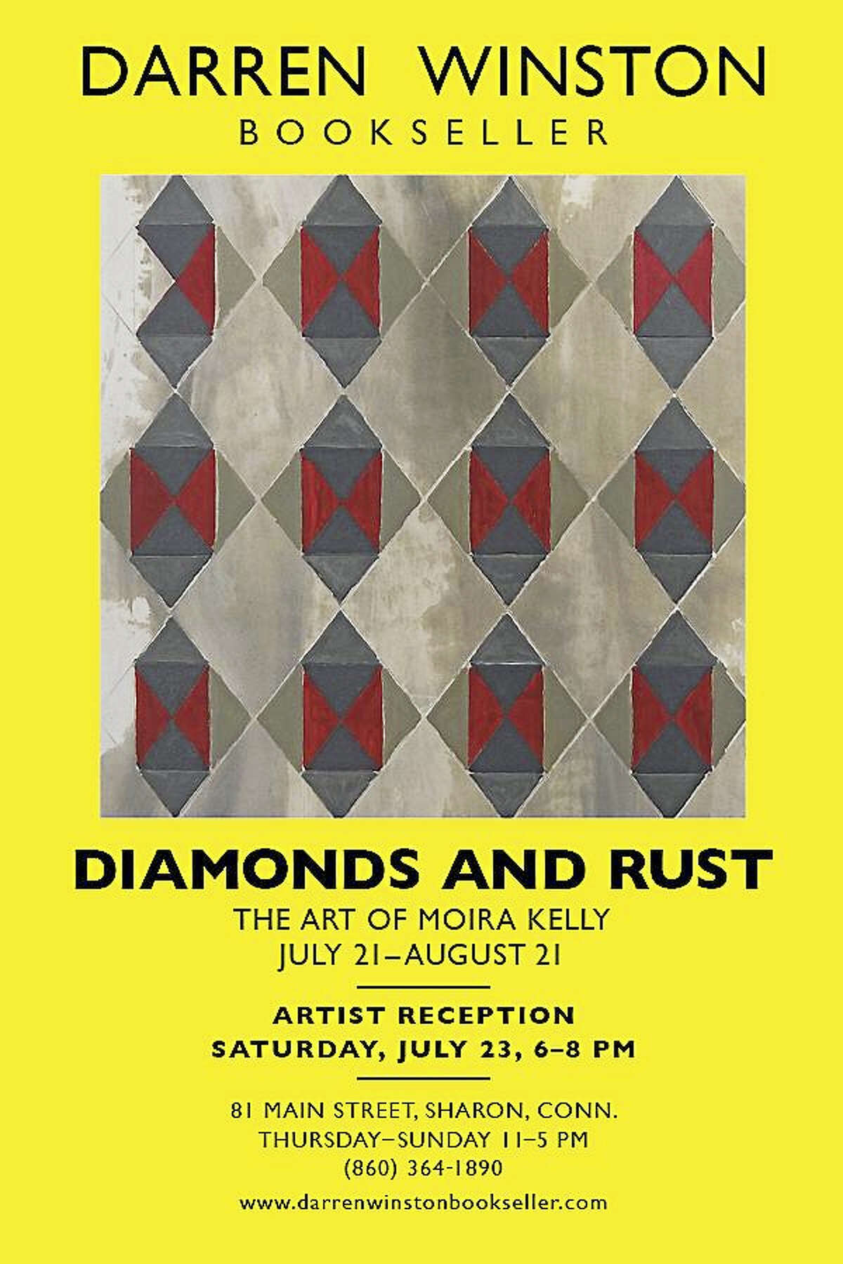 Contributed photoDiamonds and Rust: The Art of Moira Kelly, is the new show at Darren Winston Bookseller in Sharon, opening July 21 with a reception July 23.