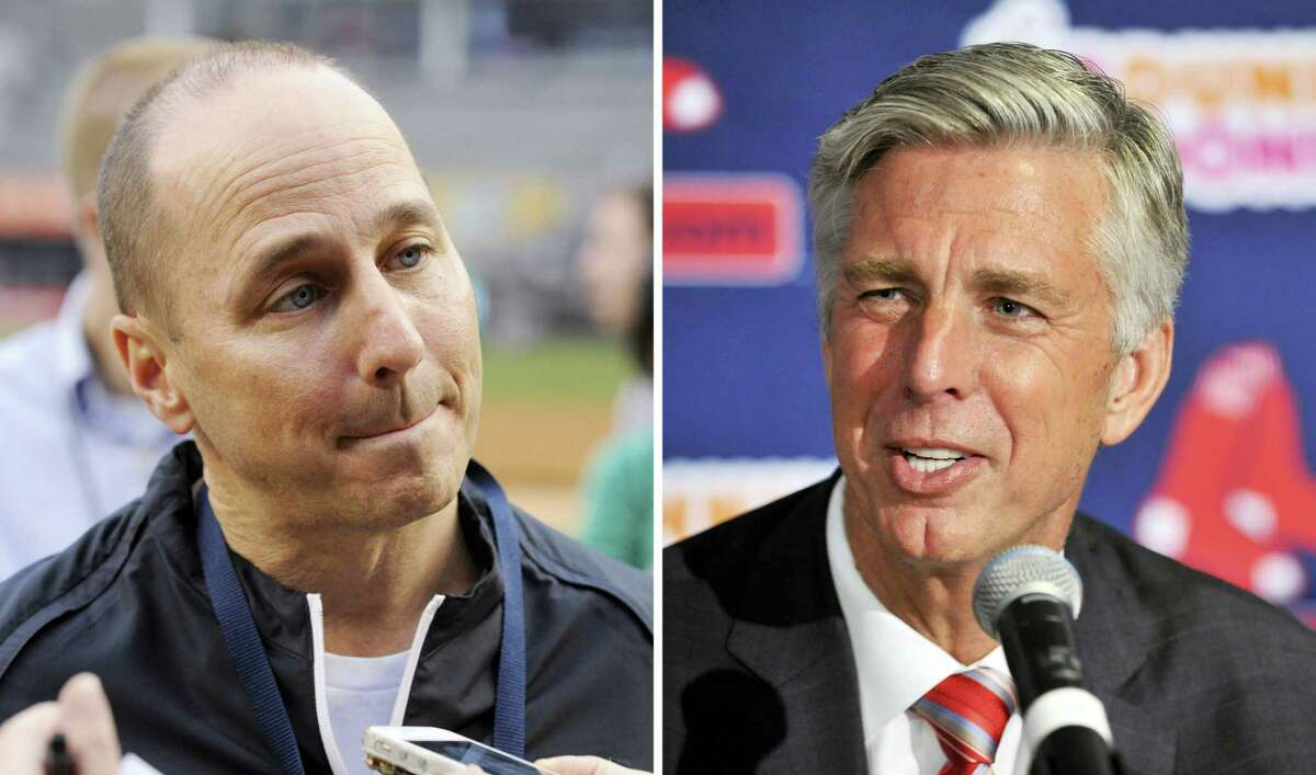 Yankees GM Brian Cashman, left, and Red Sox President of Baseball Operations Dave Dombrowski.