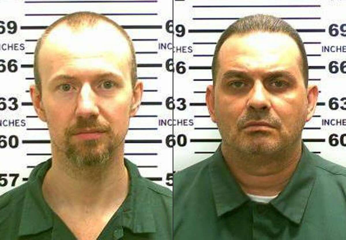 This combination made from photos released by the New York State Police shows inmates David Sweat, left, and Richard Matt. Authorities on Saturday, June 6, 2015 said Sweat, 34, and Matt, 48, both convicted murderers, escaped from the Clinton Correctional Facility in Dannemora, N.Y.