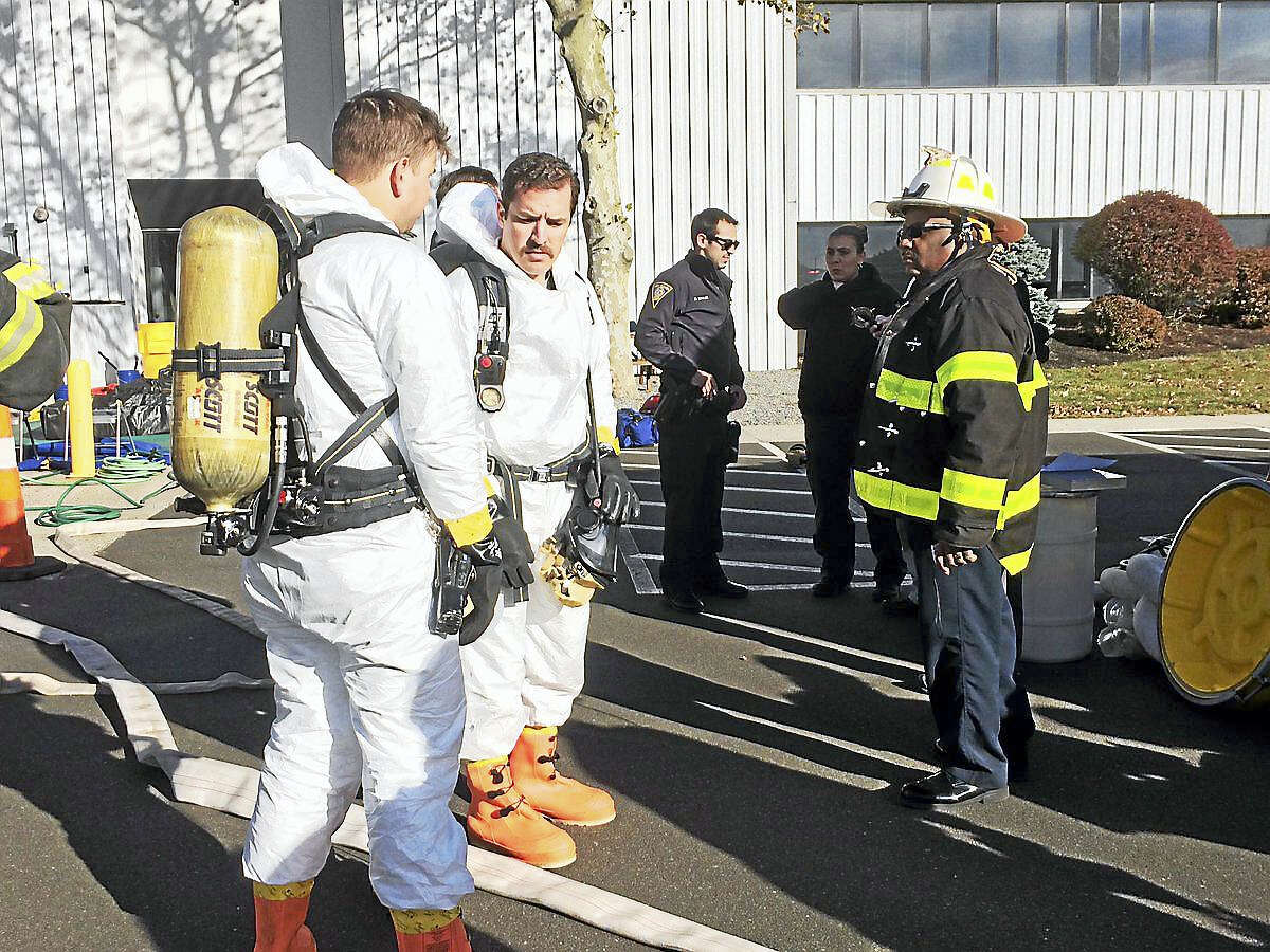 The New Haven Register building was evacuated around 2:20 p.m. on Wednesday as fire, public safety and hazmat crews were called to the Gando Drive scene. Officials said a suspicious letter had prompted the investigation.
